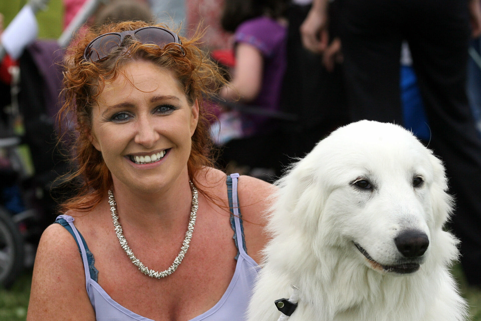 Ann Jennings with her Pyrenean Mountain Dog,  at the Corrandulla Show.